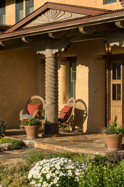Transitional new mexico territorial house southwestern for Mexican porch designs