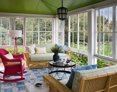 Shingle Style House, Historic Seaside Town, Rhode Island transitional-porch
