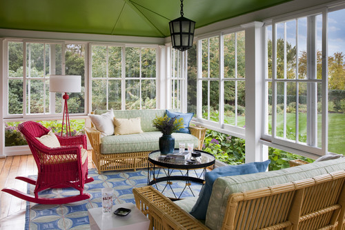 green painted ceiling enclosed porch Get Your Color On spring green decorating