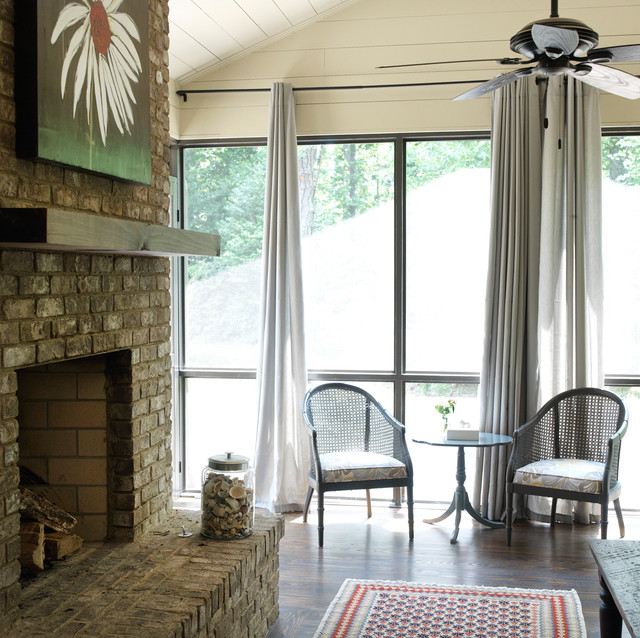 Ranch Remodel Screened Porch with Fireplace transitional-porch