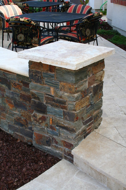 Stone Column Caps : Travertine porch copper veneer stone column with