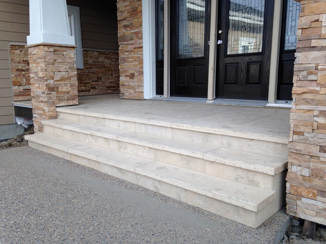 Travertine Stone Stairs Modern Porch Edmonton By