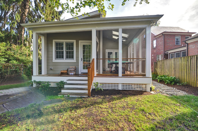DC Kitchen, Screen Porch, Office Addition to 1940's Colonial Home traditional-porch