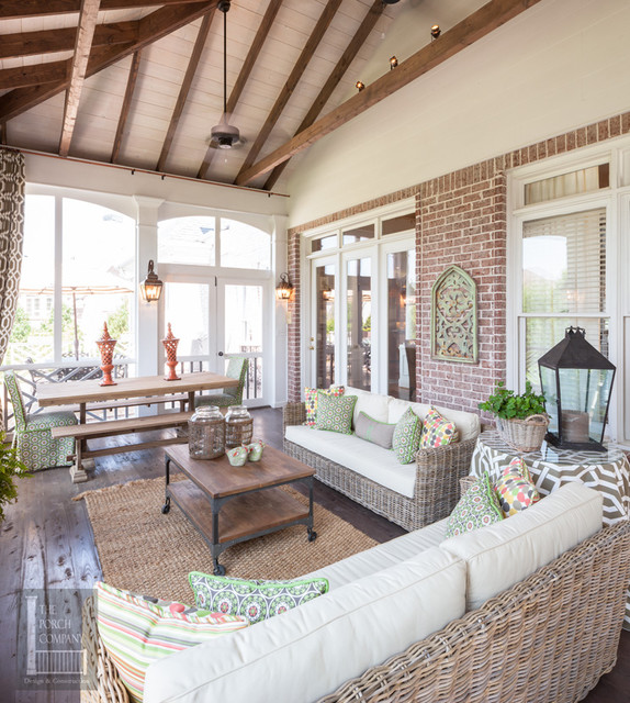 Two story double porch with outdoor fireplace travertine for Screened porch furniture layout