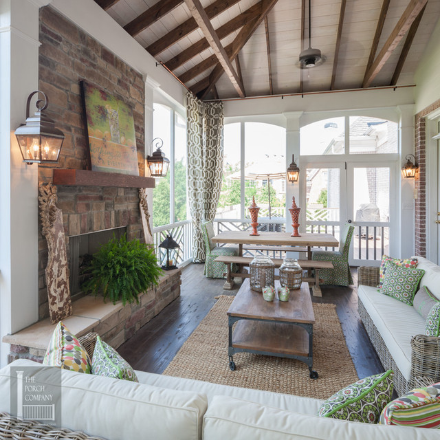 Two story double porch with outdoor fireplace travertine for Room design double deck