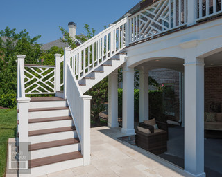 Two Story Double Porch With Outdoor Fireplace Travertine Patio And Azek Deck Contemporary