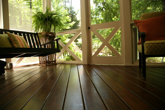 Unbelievably Stunning Wood Floor On Macon Screened Porch