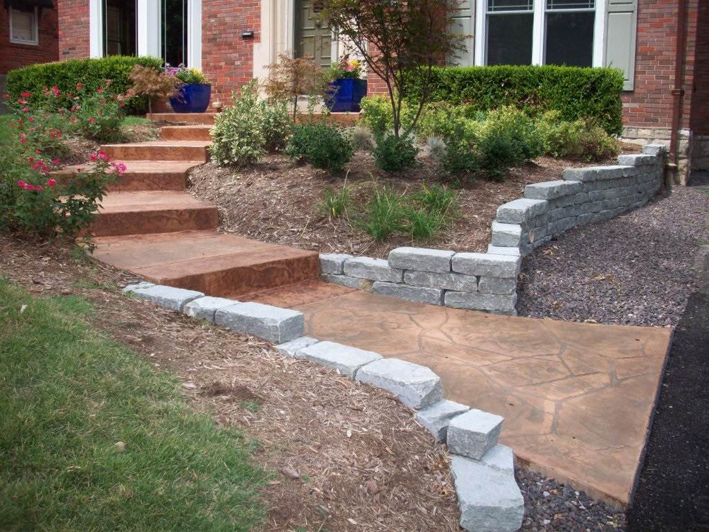 University City, Missouri stamped concrete step set, walkway, and porch with lim