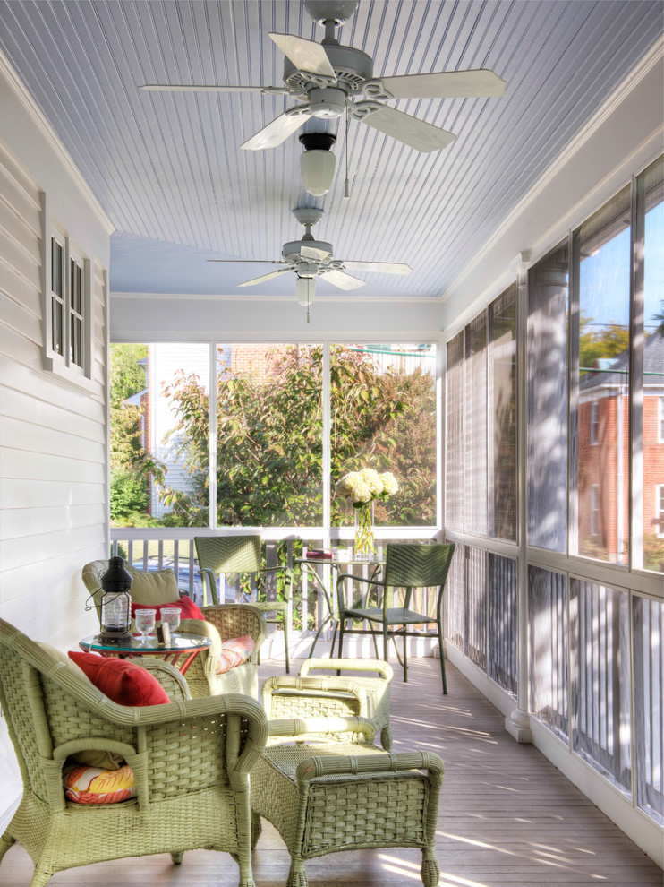 Inspiration for a timeless screened-in porch remodel in DC Metro