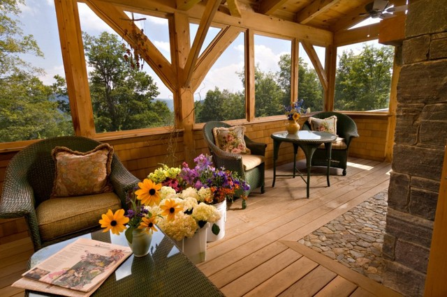 Vermont timber frame residence traditional porch for Timber frame screened porch