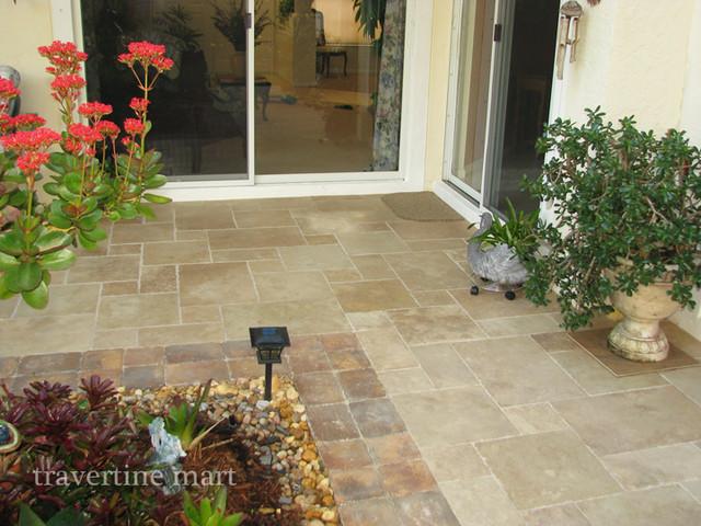 Attrayant Walnut Brushed U0026 Chiseled Travertine Tile   Patio Flooring  Traditional Verandah