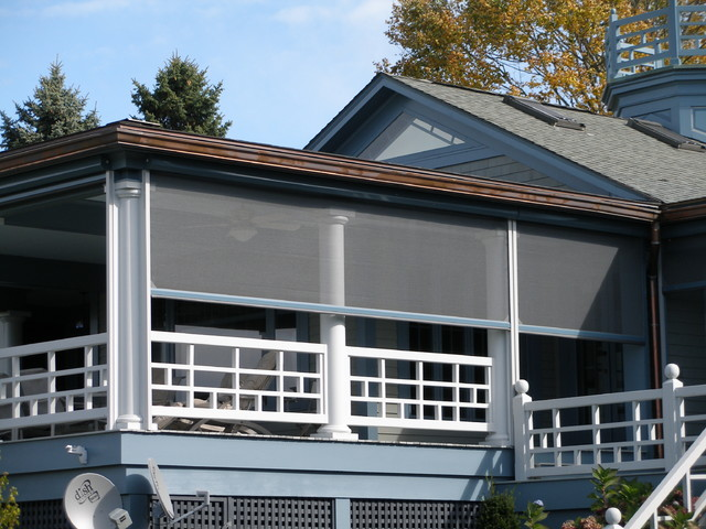Waterfront living with motorized retractable screens Motorized porch screens