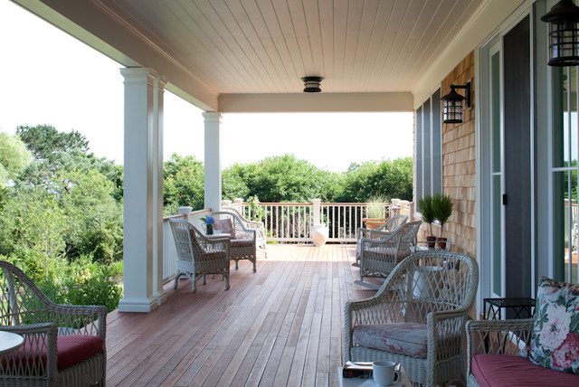 Welcoming back porch coastal views traditional porch for Back patio porch designs