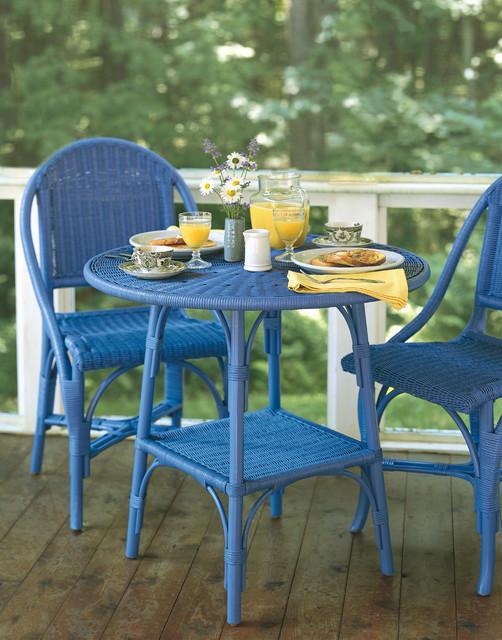Wicker Bistro Table Traditional Porch