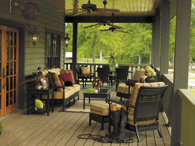 Wicker Outdoor Furniture With Equestrian Buckle Design Eclectic Porch