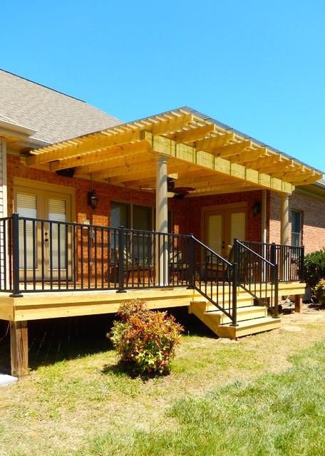 Wood Pergola With Polycarbonate Roof In Winston M Traditional Veranda