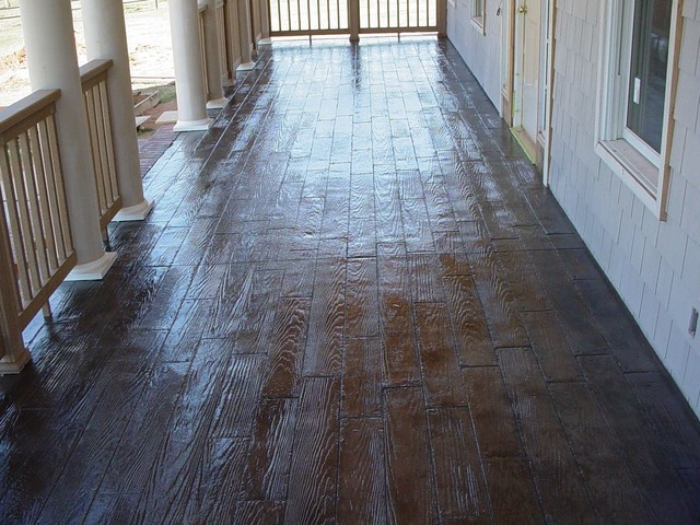 Wood Stamped Concrete : Wood plank stamped stained concrete porch traditional