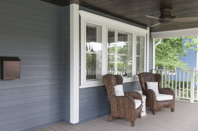 Front Porch Renovation With Wicker Chairs Wood Ceiling Traditional Chicago