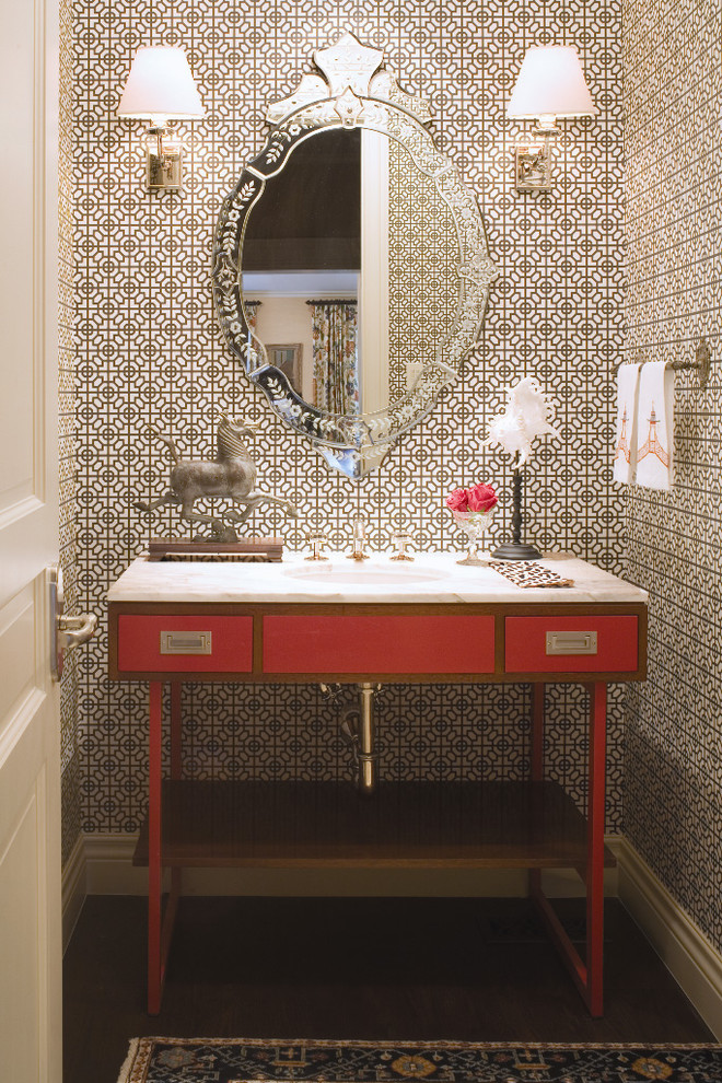 Powder room - traditional powder room idea in Denver with an undermount sink