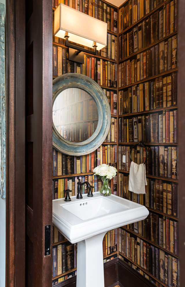 Inspiration for a large timeless powder room remodel in DC Metro with brown walls