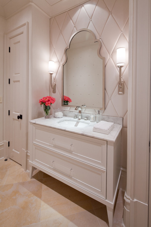 transitional powder room Leather in the Bathroom