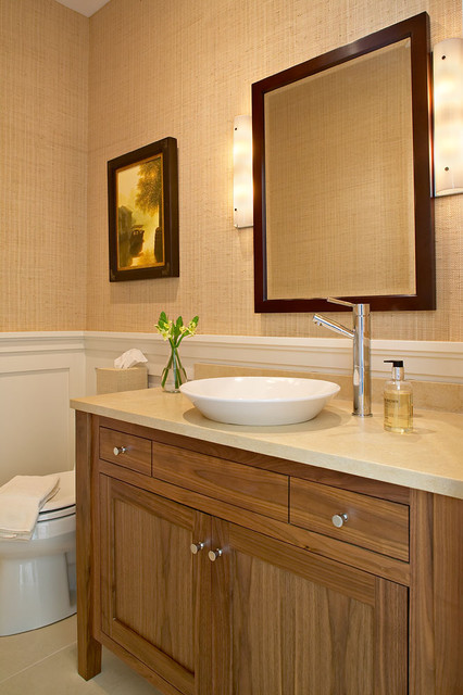 Inspiration for a beach style powder room remodel in New York with a vessel sink
