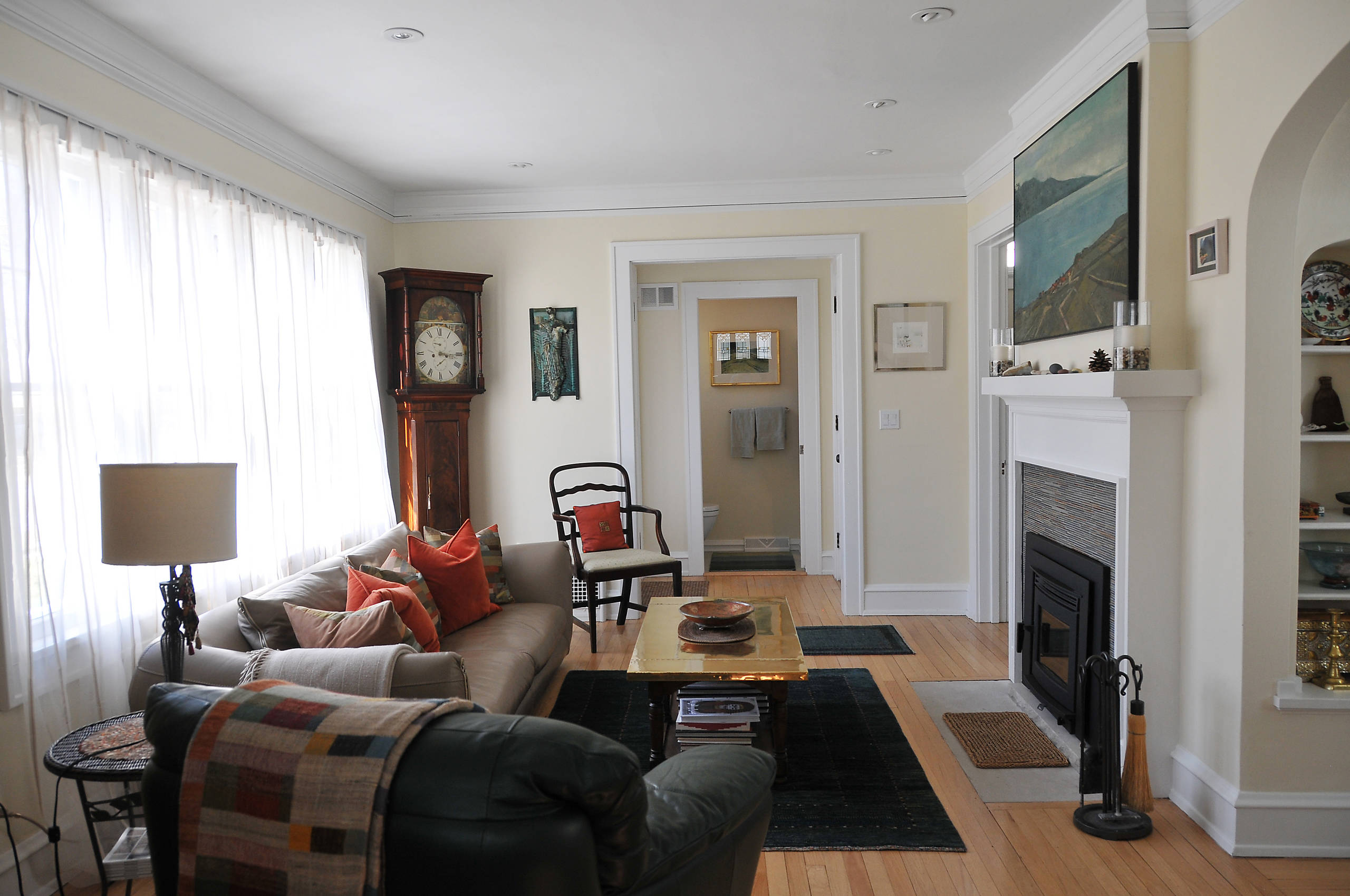 American Four Square Remodel, Shorewood, WI, Living Room, Entry and new Bathroom