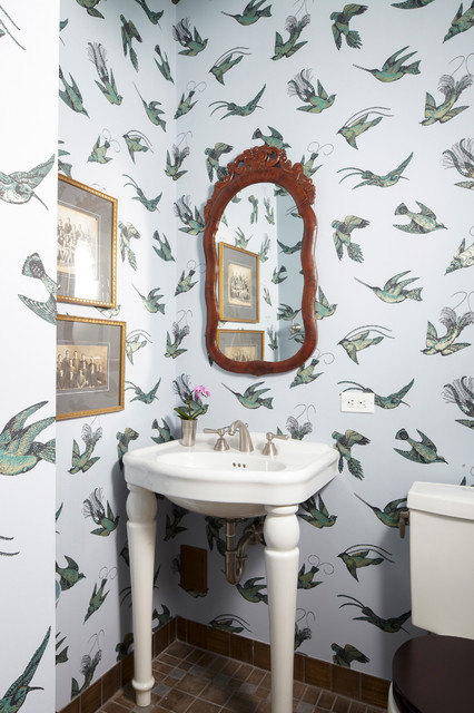 Apartment for a Music Critic eclectic-powder-room