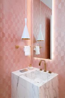 洗面所ピンク