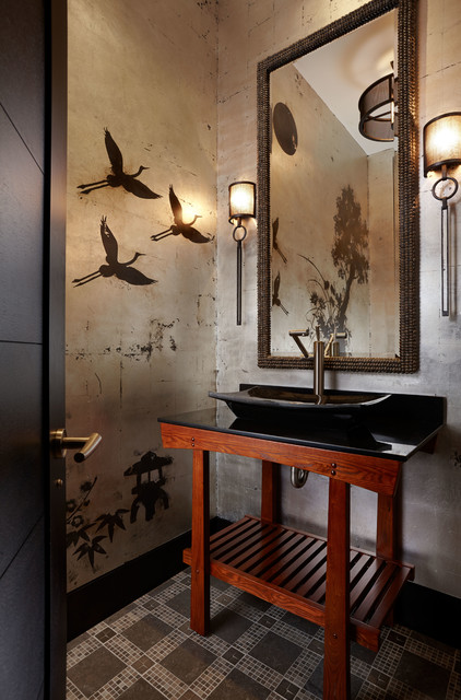 Asian Inspired Asian Powder Room