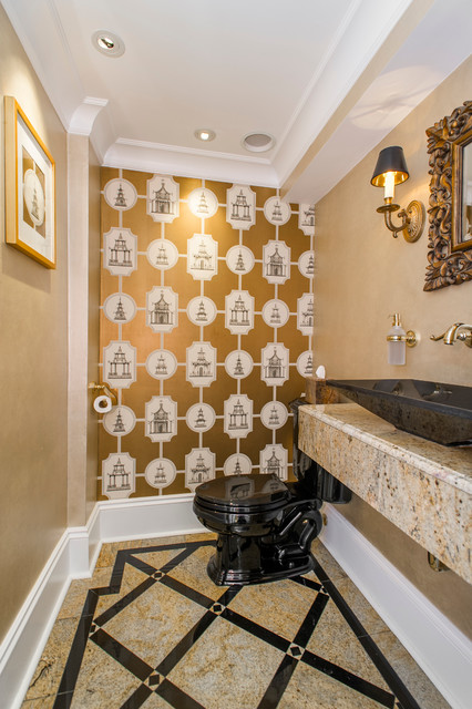 Asian Themed Powder Room In Black Amp Gold Asian Powder Room Boston By Tassels