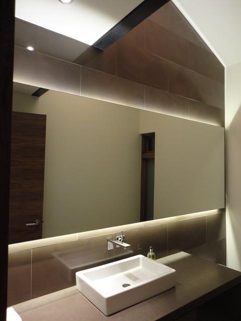 Backlit Mirror Powder Room Contemporary Cloakroom