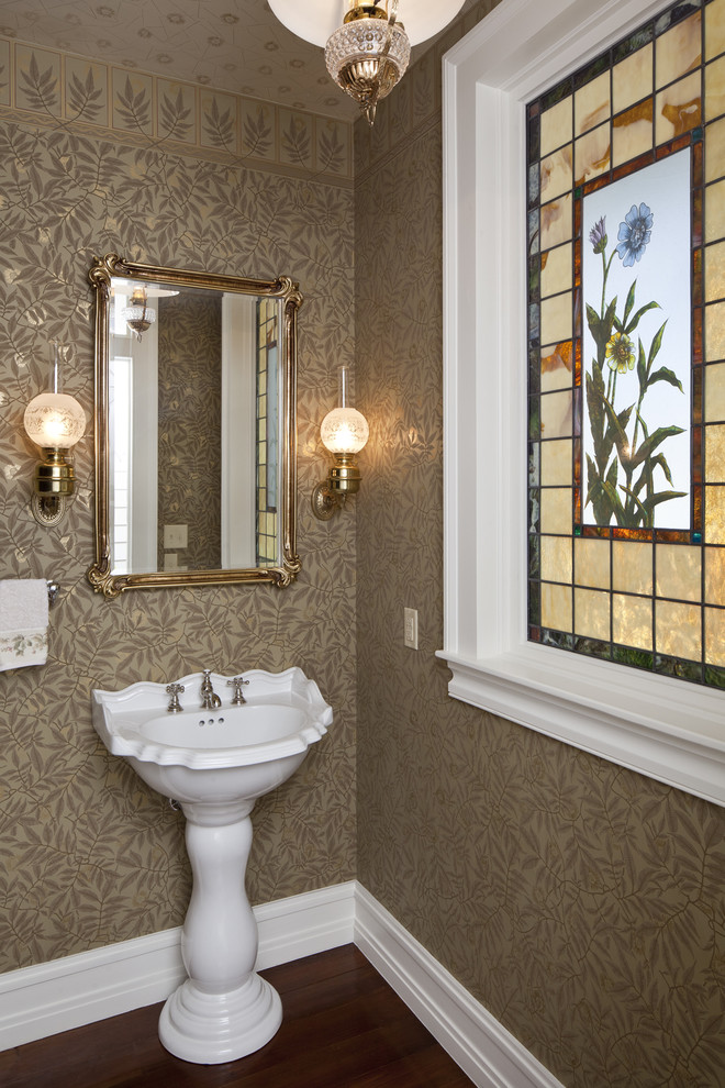 Inspiration for a victorian powder room remodel in Austin with a pedestal sink