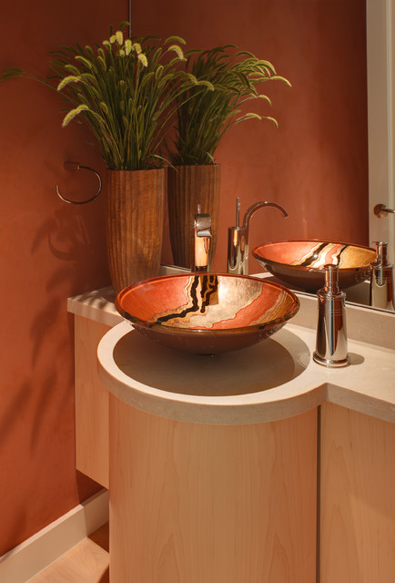 Bathroom ideas contemporary powder room san - Powder room sink ideas ...