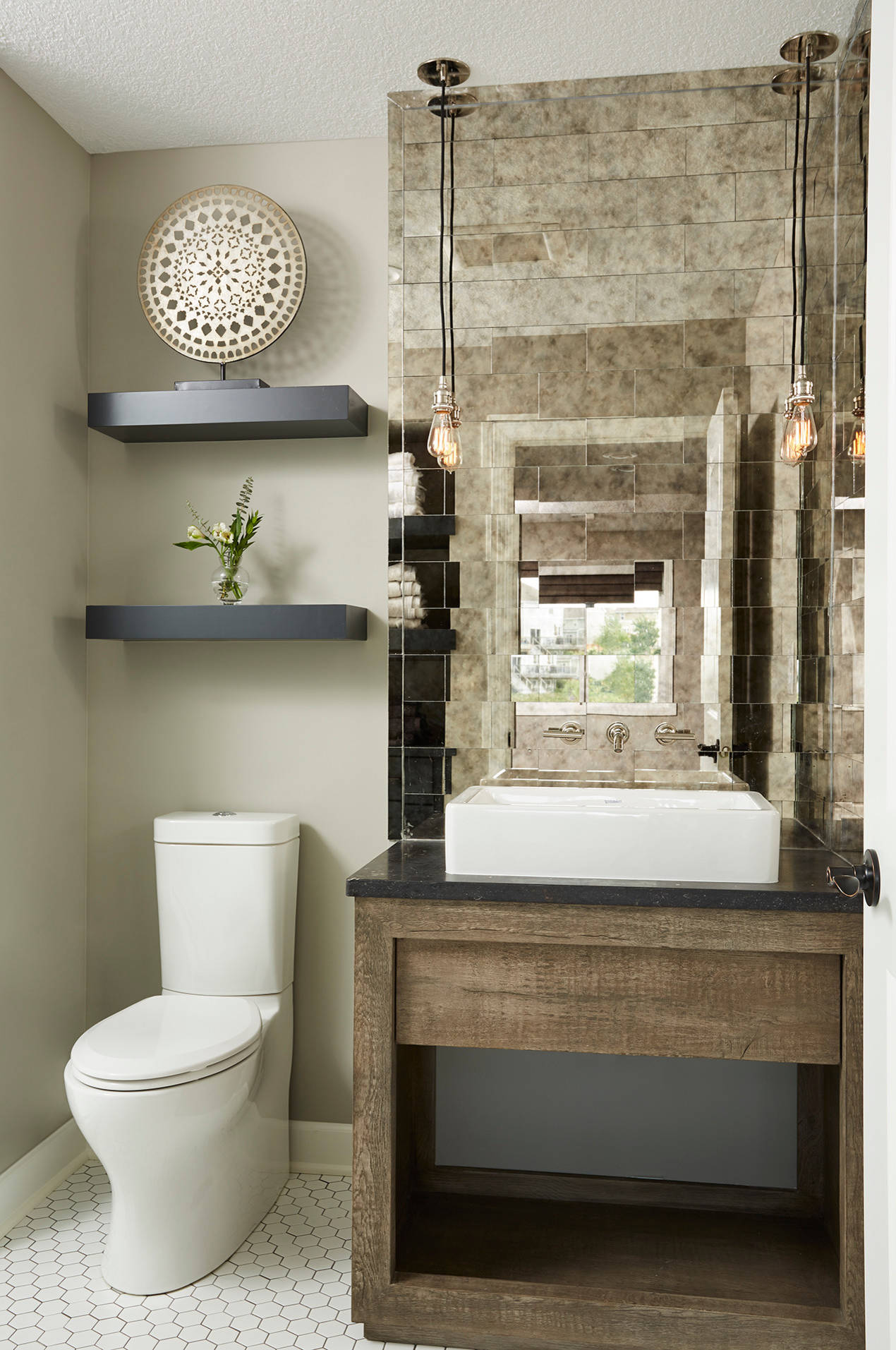 75 Beautiful Mirror Tile Powder Room Pictures Ideas February 2021 Houzz