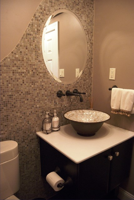 Bathroom remodel transitional powder room for Toilet room decor