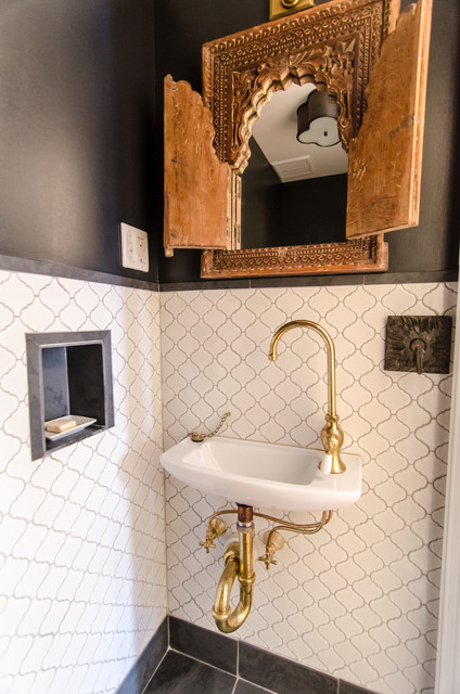 Bathrooms With Brass Eclectic Powder Room New York