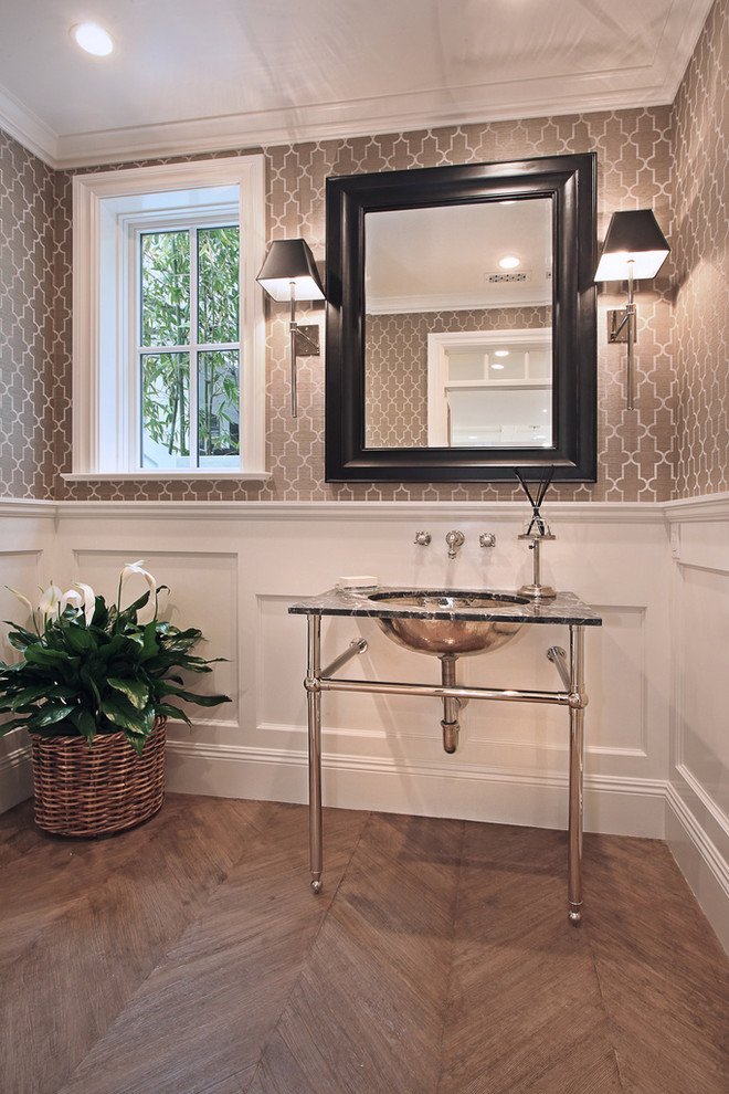 Inspiration for a timeless powder room remodel in Orange County with an undermount sink