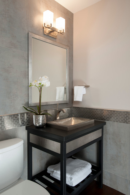 Elegant gray tile powder room photo in San Francisco with a drop-in sink