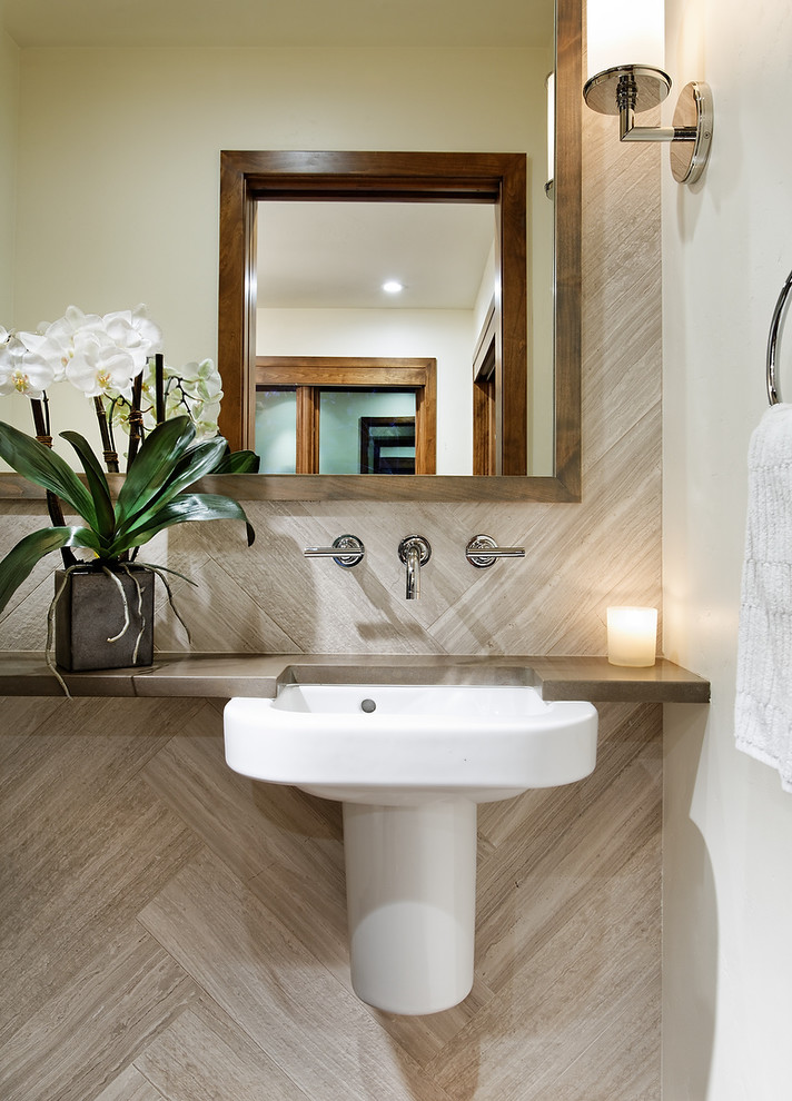 Trendy powder room photo in Denver with a wall-mount sink