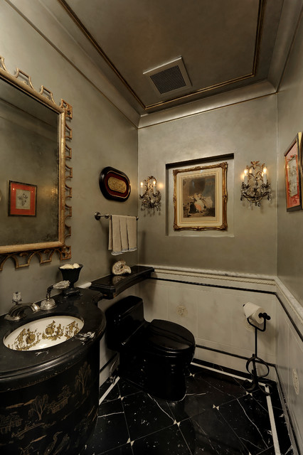 Black Tie Powder Room in Arlington traditional-powder-room