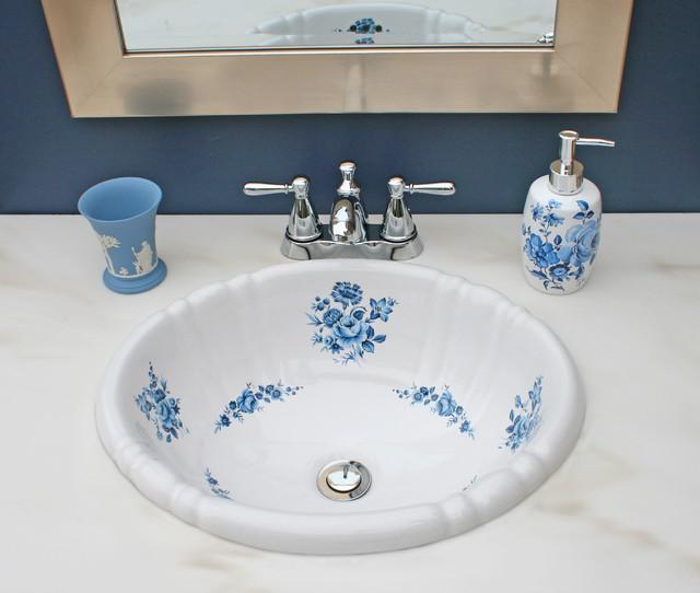 Bathroom Sinks Las Vegas blue amaranth hand painted sink in blue bathroom - traditional