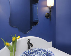 Blue Powder Bath Remodel traditional-powder-room