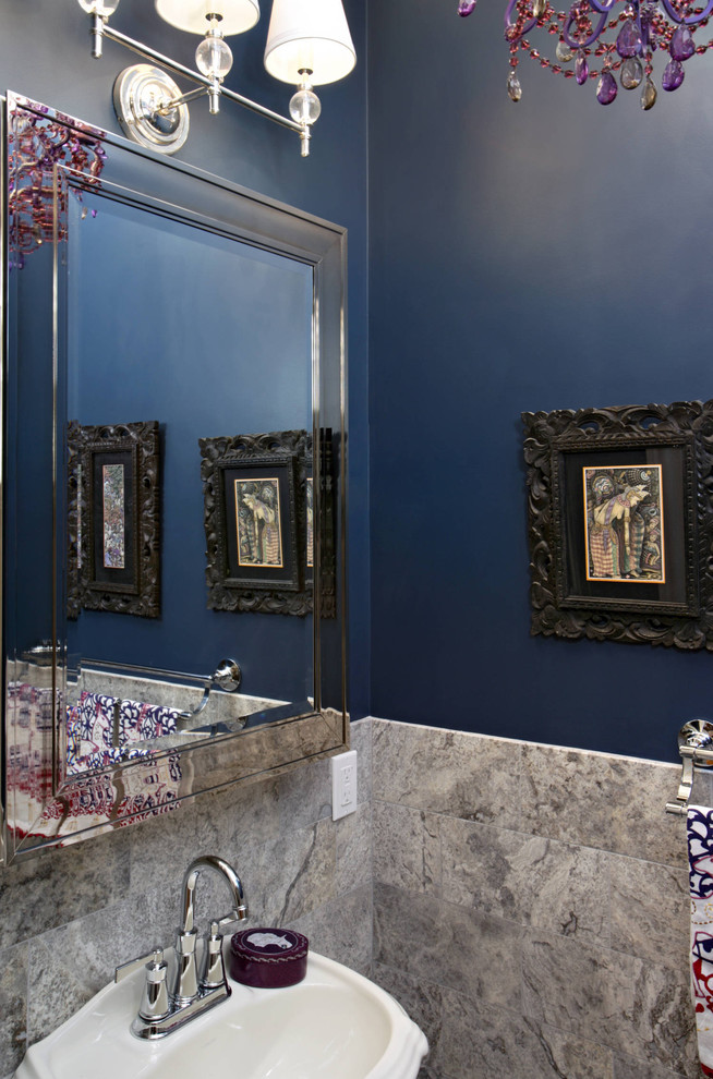 Powder room - eclectic gray tile powder room idea in Boston with a pedestal sink