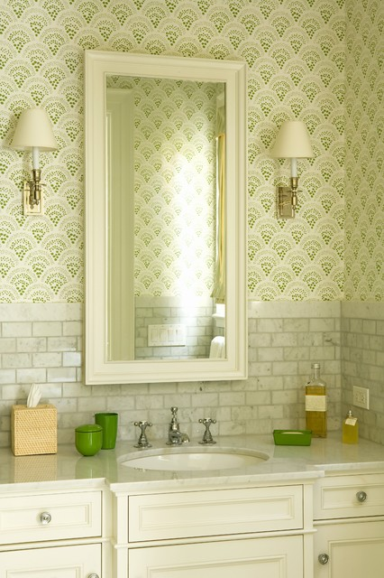 a perfect marriage: wallpaper and powder bathrooms