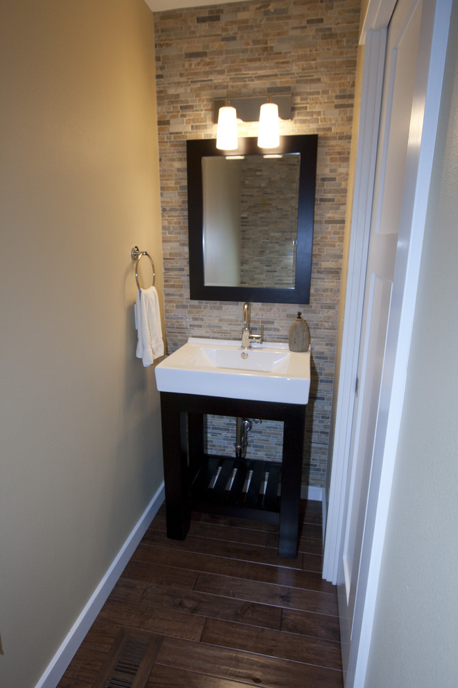 Inspiration for a contemporary powder room remodel in Portland