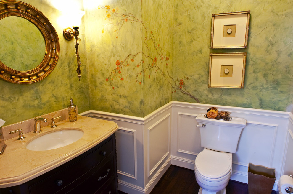 Elegant powder room photo in San Francisco with an undermount sink and a two-piece toilet