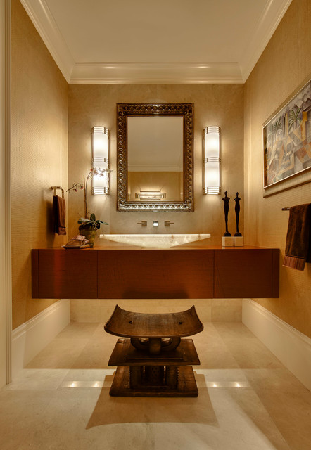 Powder room - transitional powder room idea in Detroit with a vessel sink