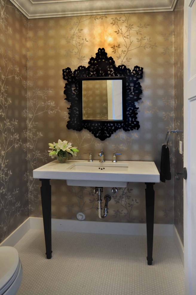 Example of a mid-sized ornate white tile powder room design in Vancouver with brown walls, a console sink and white countertops