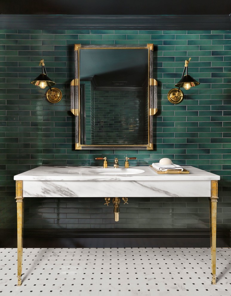Example of a classic green tile and subway tile multicolored floor powder room design in St Louis with green walls, an undermount sink, marble countertops and white countertops